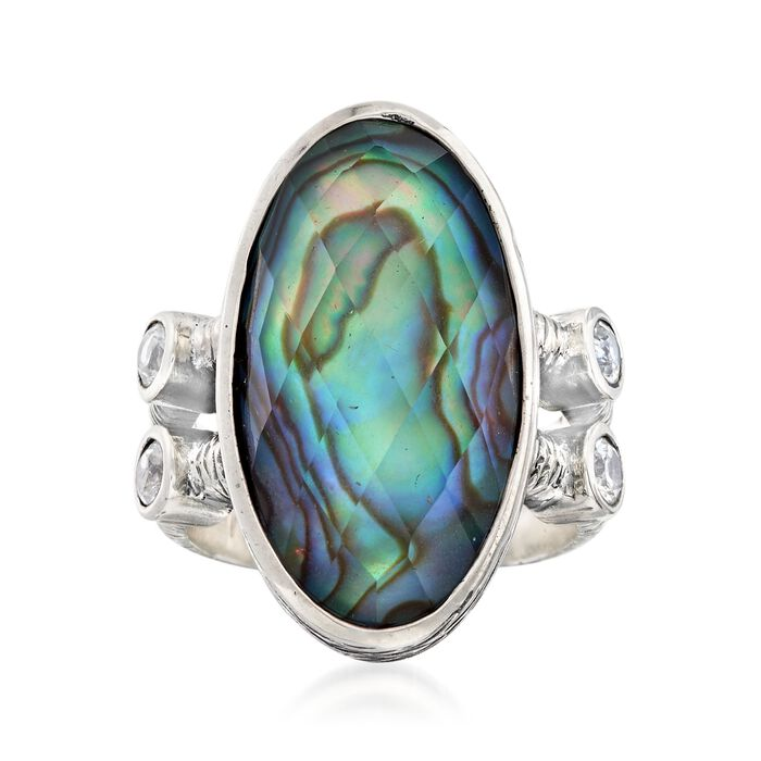 Multicolored Abalone Shell Doublet Ring with .60 ct. t.w. White Topaz in Sterling Silver. Size 9