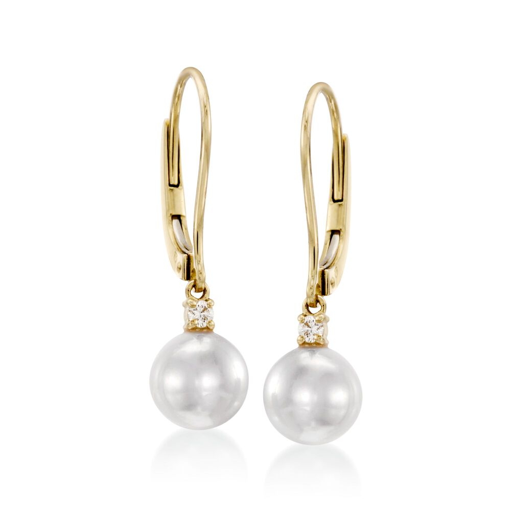 Mikimoto 7mm A Akoya Pearl Drop Earrings With Diamonds In 18kt Yellow Gold Default