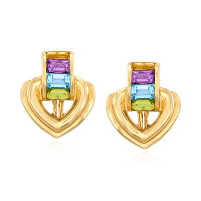 C. 1980 Vintage 1.90 ct. t.w. Multi-Gemstone Heart Earrings in 14kt Yellow Gold, , default