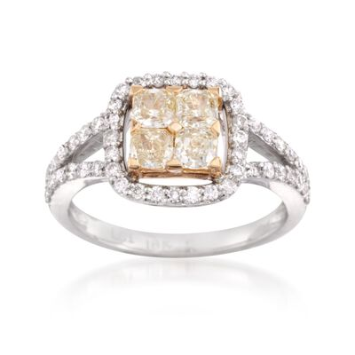 1.00 ct. t.w. Fancy Yellow and White Diamond Engagement Ring in 18kt Two-Tone Gold, , default