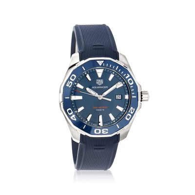 TAG Heuer Aquaracer Men's 43mm Stainless Steel Watch with Blue Rubber, , default