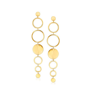 Italian 14kt Yellow Gold Multi-Circle Drop Earrings, , default