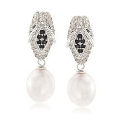 10-10.5mm Cultured Pearl and 1.40 ct. t.w. White Topaz Panther Earrings With Black Spinels in Sterling, , default