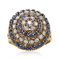 C. 1970 Vintage 1.65 ct. t.w. Sapphire and .65 ct. t.w. Diamond Cluster Dome Ring in 18kt Yellow Gold. Size 7.5, , default