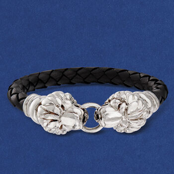 "Italian Sterling Silver Double Lion Head Black Leather Bracelet with Magnetic Clasp. 7.5"", , default"