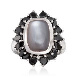 Cabochon Gray Moonstone and Black Spinel Ring in Sterling Silver, , default