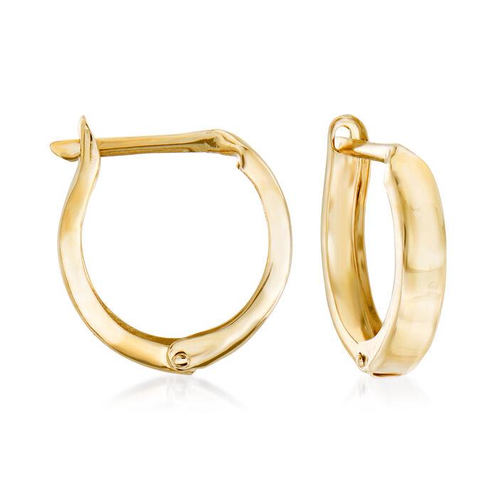 "14kt Yellow Gold Huggie Hoop Earrings. 1/2"", , default"