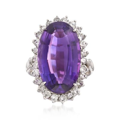 C. 1990 Vintage 12.50 Carat Amethyst and 1.30 ct. t.w. Diamond Ring in 14kt White Gold, , default
