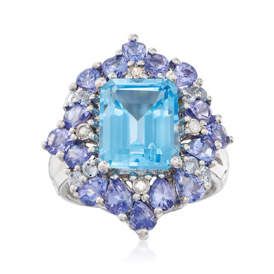 5.45 ct. t.w. Blue Topaz and 2.20 ct. t.w. Tanzanite Ring with Diamond Accents in Sterling Silver, , default