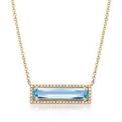 "2.30 Carat Blue Topaz and .12 ct. t.w. Diamond Necklace in 14kt Yellow Gold. 18"", , default"