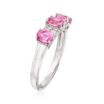 1.20 ct.t.w. Pink Sapphire and .12 ct. t.w. Diamond Ring in 14kt White Gold, , default