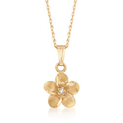 "Child's Diamond Accent Flower Pendant Necklace in 14kt Yellow Gold. 15"", , default"