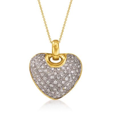 C. 1980 Vintage 1.94 ct. t.w. Diamond Heart Pendant Necklace in 18kt Yellow Gold