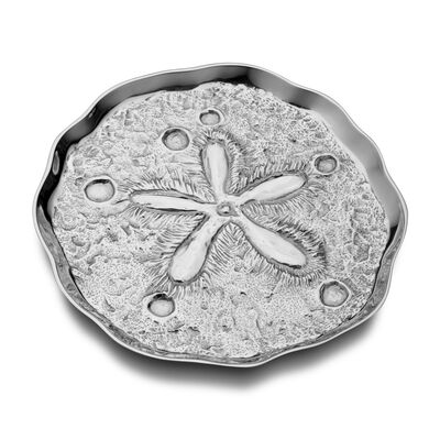 "Wilton Armetale ""Sea Life"" Sand Dollar Serving Tray, , default"