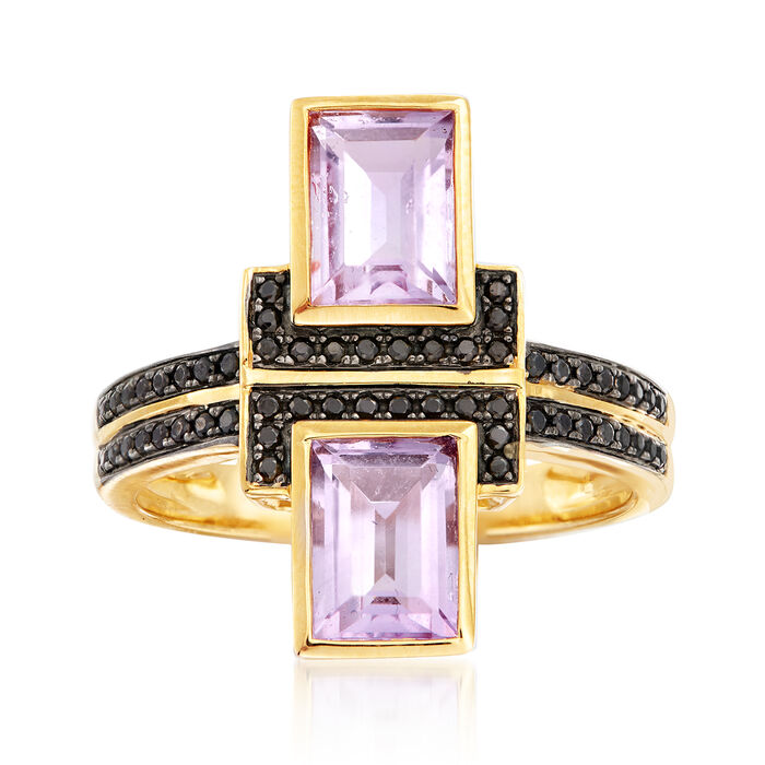 1.70 ct. t.w. Amethyst and .10 ct. t.w. Black Spinel Ring in 18kt Gold Over Sterling
