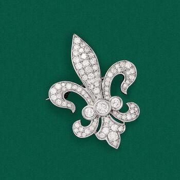 1.00 ct. t.w. Diamond Fleur-De-Lis Pin in Sterling Silver