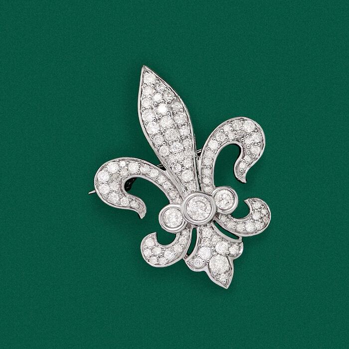 1.00 ct. t.w. Diamond Fleur-De-Lis Pin in Sterling Silver