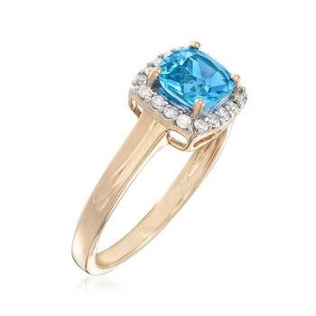 1.10 Carat Swiss Blue Topaz and .17 ct. t.w. Diamond Ring in 14kt Yellow Gold