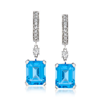 8.00 ct. t.w. Swiss Blue Topaz and .40 ct. t.w. Diamond Hoop Drop Earrings in 14kt White Gold