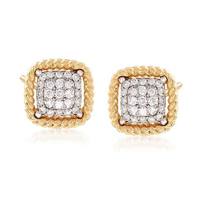 "Roberto Coin ""Barocco"" .30 ct. t.w. Diamond Square Earrings in 18kt Yellow Gold"