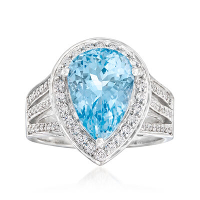 5.00 Carat Aquamarine and .63 ct. t.w. Diamond Ring in 14kt White Gold, , default