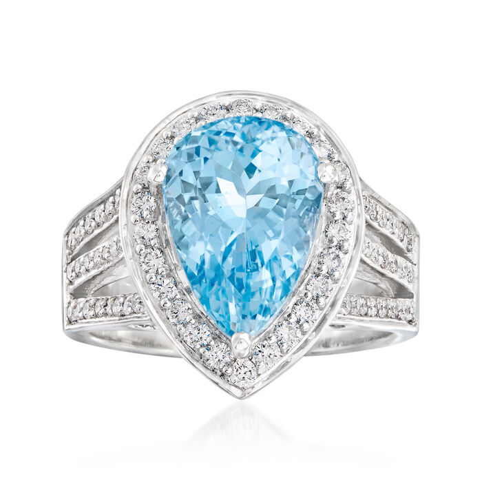 5.00 Carat Aquamarine and .63 ct. t.w. Diamond Ring in 14kt White Gold. Size 7, , default