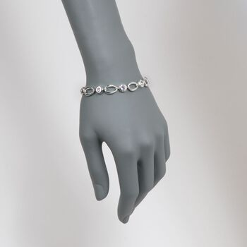 """Zina Sterling Silver 1.40 ct. t.w. Amethyst Oval Link Bracelet. 7"""""""