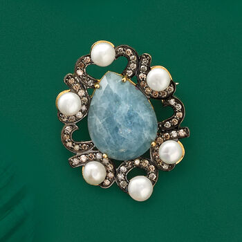 5mm Cultured Pearl, 10.00 Carat Aquamarine and 1.00 ct. t.w. Diamond Pin in 18kt Yellow Gold Over Sterling