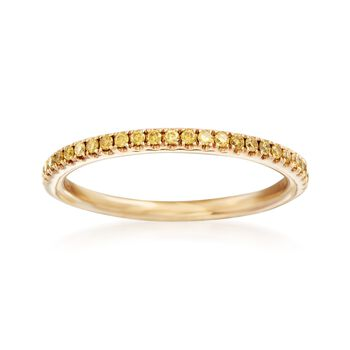 Henri Daussi .15 ct. t.w. Yellow Diamond Wedding Ring in 14kt Yellow Gold, , default