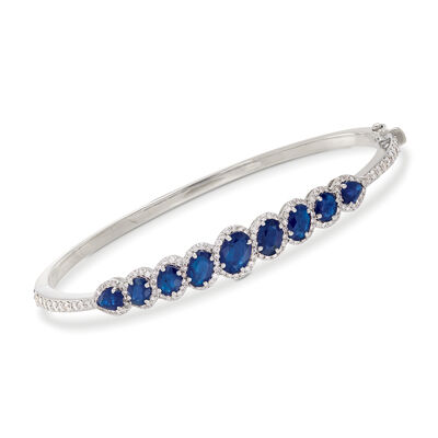 4.00 ct. t.w. Sapphire and 1.20 ct. t.w. Diamond Bangle Bracelet in 18kt White Gold, , default