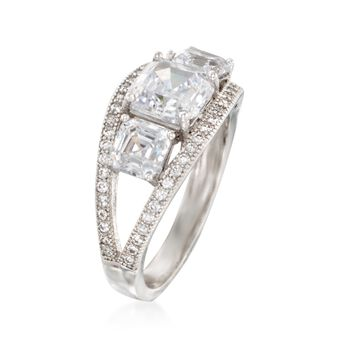 4.00 ct. t.w. CZ Three-Stone Ring in Sterling Silver