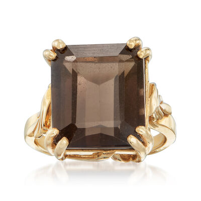 C. 1970 Vintage 8.25 Carat Smoky Quartz Ring in 14kt Yellow Gold, , default