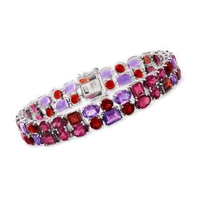 41.00 ct. t.w. Multi-Gemstone Bracelet in Sterling Silver, , default