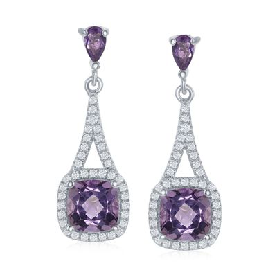 3.00 ct. t.w. Amethyst and .52 ct. t.w. White Topaz Drop Earrings in Sterling Silver, , default