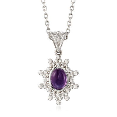 1.70 Carat Amethyst Sun Pendant Necklace in Sterling Silver, , default