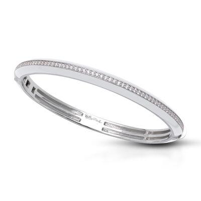 "Belle Etoile ""Tenuto"" White Enamel and 1.77 ct. t.w. CZ Bangle Bracelet in Sterling Silver"