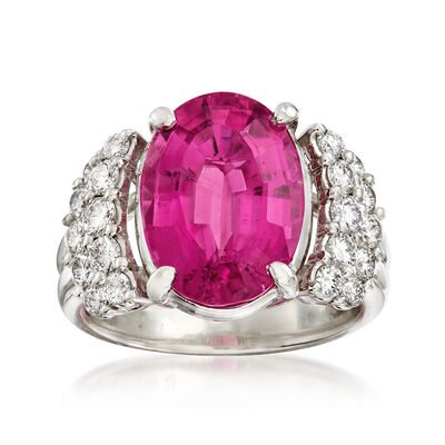 C. 1990 Vintage 6.25 Carat Pink Tourmaline and .75 ct.t.w. Diamond Ring in Platinum, , default