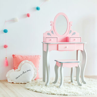 Child's Little Princess Rapunzel Pink and Gray Vanity and Stool Set