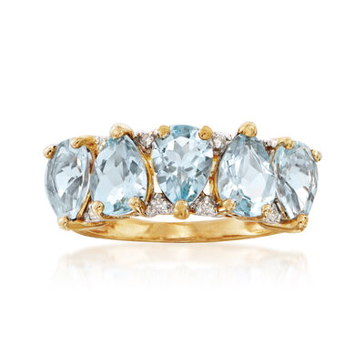 C. 1990 Vintage 2.50 ct. t.w. Aquamarine and Diamond-Accented Ring in 14kt Yellow Gold, , default