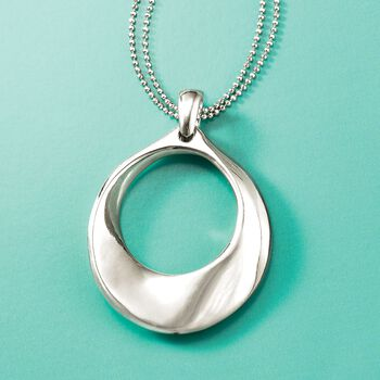 Italian Sterling Silver Open Circle Pendant Necklace, , default