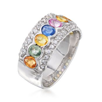 1.80 ct. t.w. Multicolored Sapphire and .30 ct. t.w. White Zircon Ring in Sterling Silver, , default