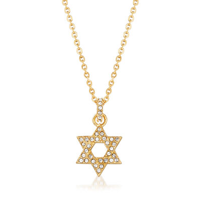 Swarovski Crystal Star of David Pendant Necklace in Gold-Plated Metal, , default