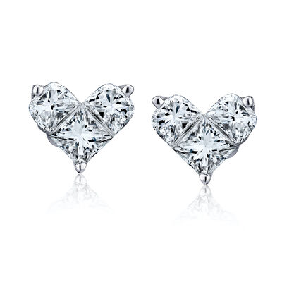 .58 ct. t.w. Diamond Heart Earrings in 18kt White Gold, , default