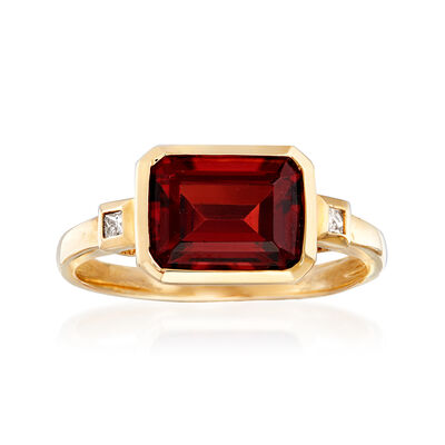 2.90 Carat Garnet Ring in 14kt Yellow Gold