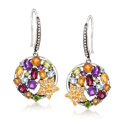 Multicolored Multi-Gem Drop Earrings with 14kt Yellow Gold Starfish in Sterling Silver, , default