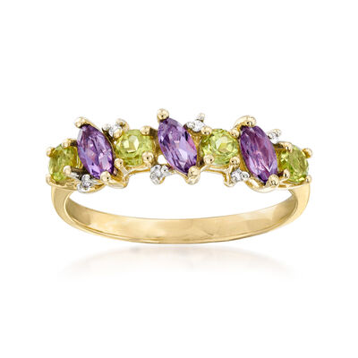 .50 ct. t.w. Peridot and .40 ct. t.w. Amethyst Ring with Diamond Accents in 14kt Yellow Gold, , default