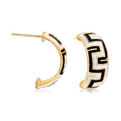 Enamel Greek Key Earrings in 14kt Yellow Gold