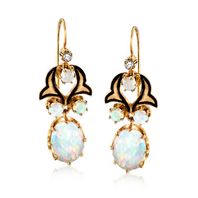 C. 1980 Vintage Opal and Diamond-Accented Drop Earrings with Black Enamel in 14kt Yellow Gold, , default