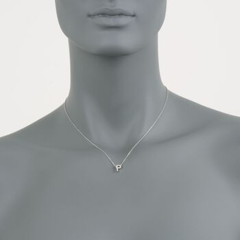 "Roberto Coin ""Love Letter"" Diamond Accent Initial ""P"" Necklace in 18kt White Gold. 16"", , default"