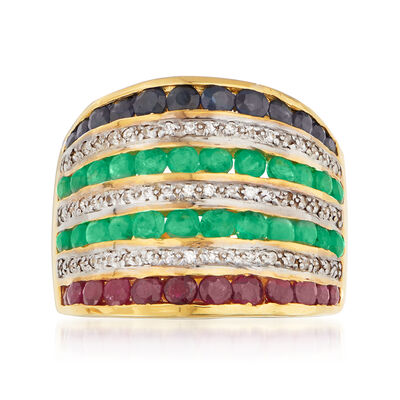 3.20 ct. t.w. Multi-Gemstone Ring in 18kt Gold Over Sterling